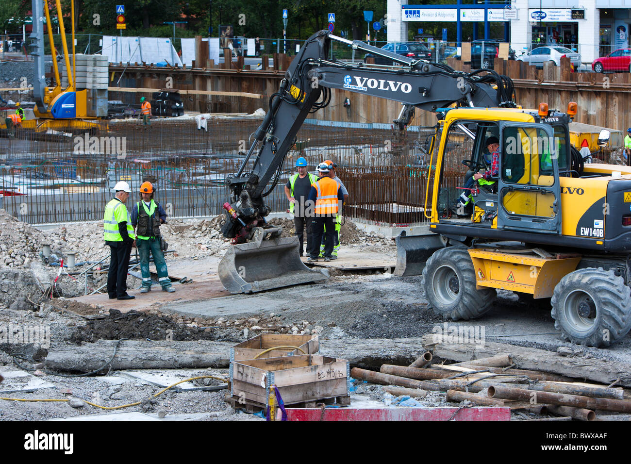 Construction workers in work - Stock Image