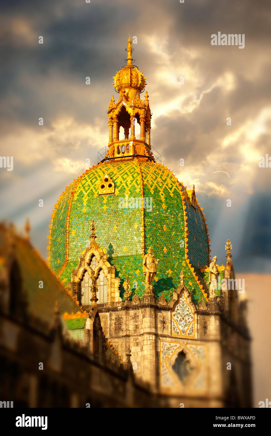 The Art Nouveau Museum of Applied Arts with Zolnay tiled roof. Budapest Hungary - Stock Image