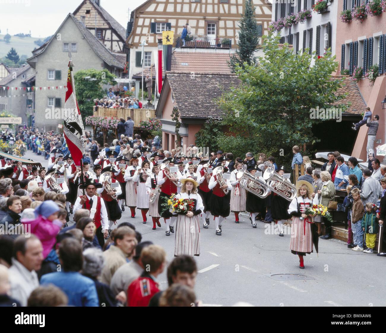brass band music tradition blower tradition folklore Hallau canton Schaffhausen bolt houses Switzerland Eu - Stock Image