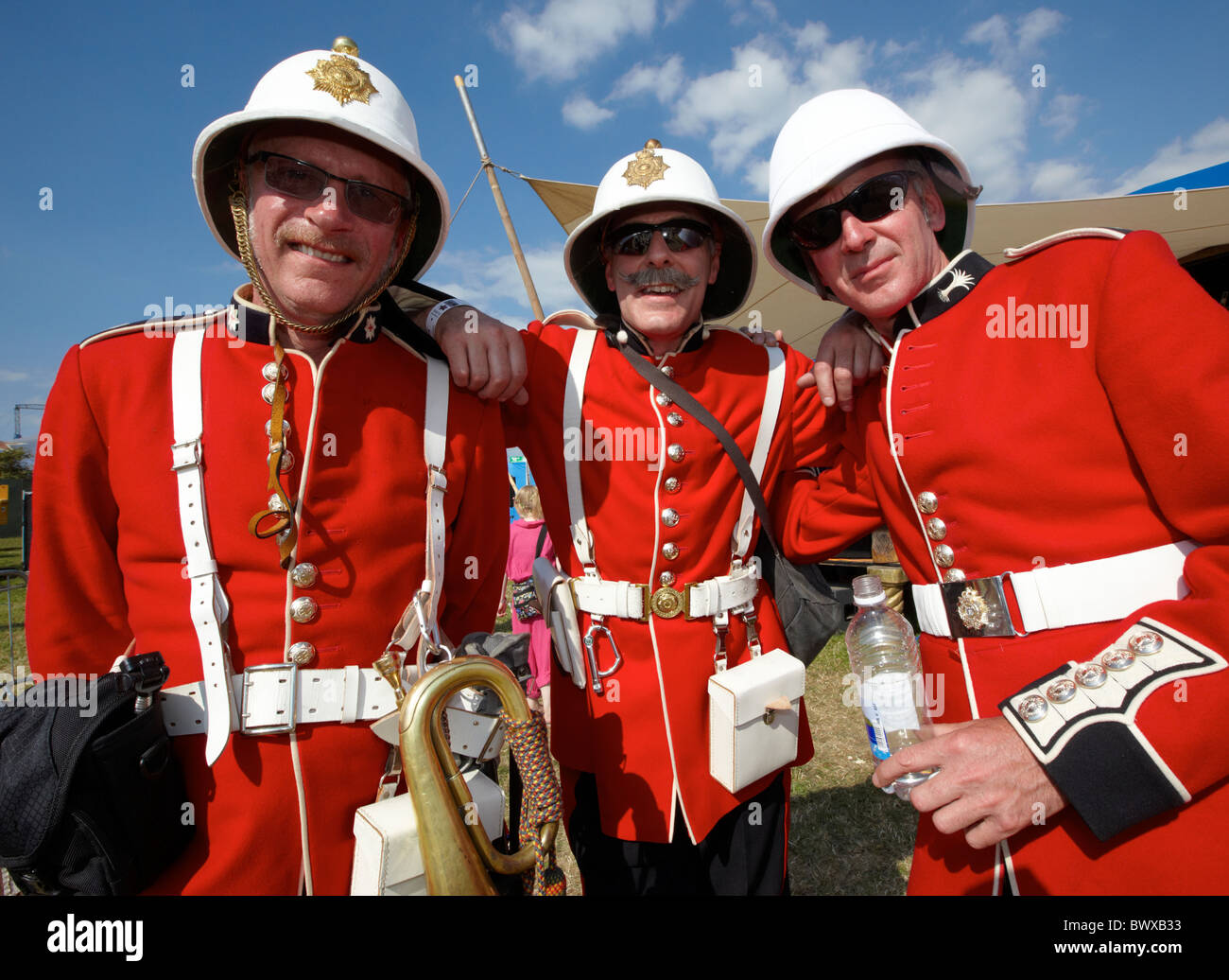 British Colonial Soldiers In Redcoats Glastonbury Festival Somerset UK Europe - Stock Image  sc 1 st  Alamy : british colonial soldier costume  - Germanpascual.Com
