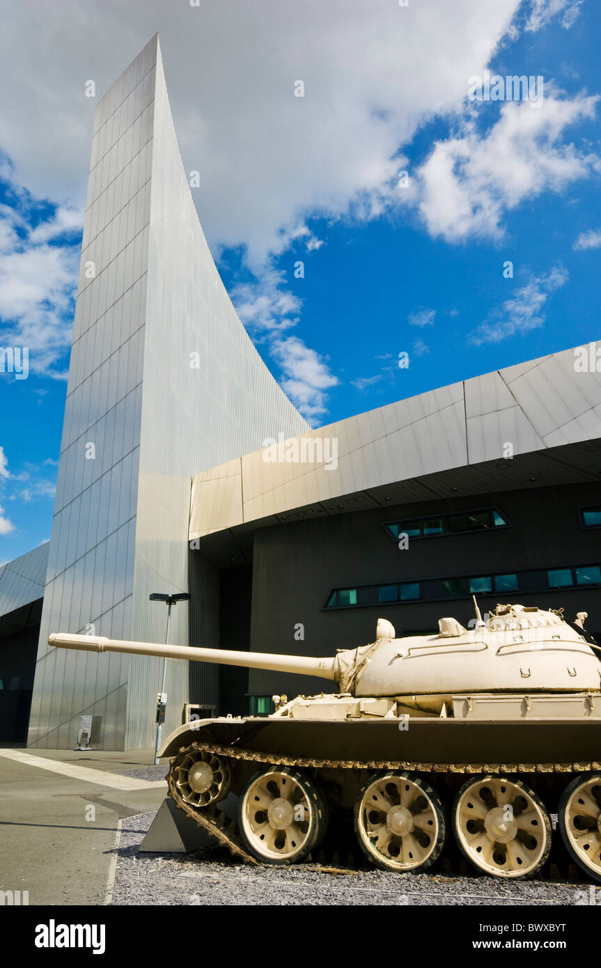 Tank outside the Imperial war museum north salford quays manchester england GB UK EU Europe - Stock Image