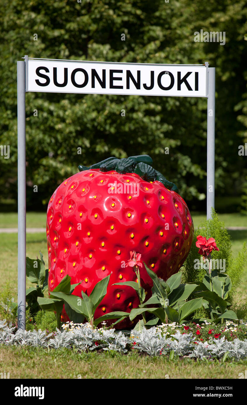 Strawberry symbol and sign of city of Suonenjoki , where strawberry cultivation is a major source of incom , Finland - Stock Image