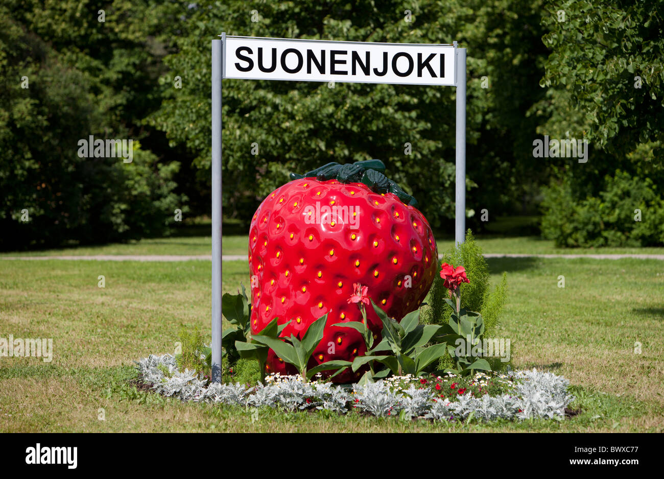 Strawberry symbol and sign of city of Suonenjoki , where strawberry cultivation is a major source of income at summertime - Stock Image
