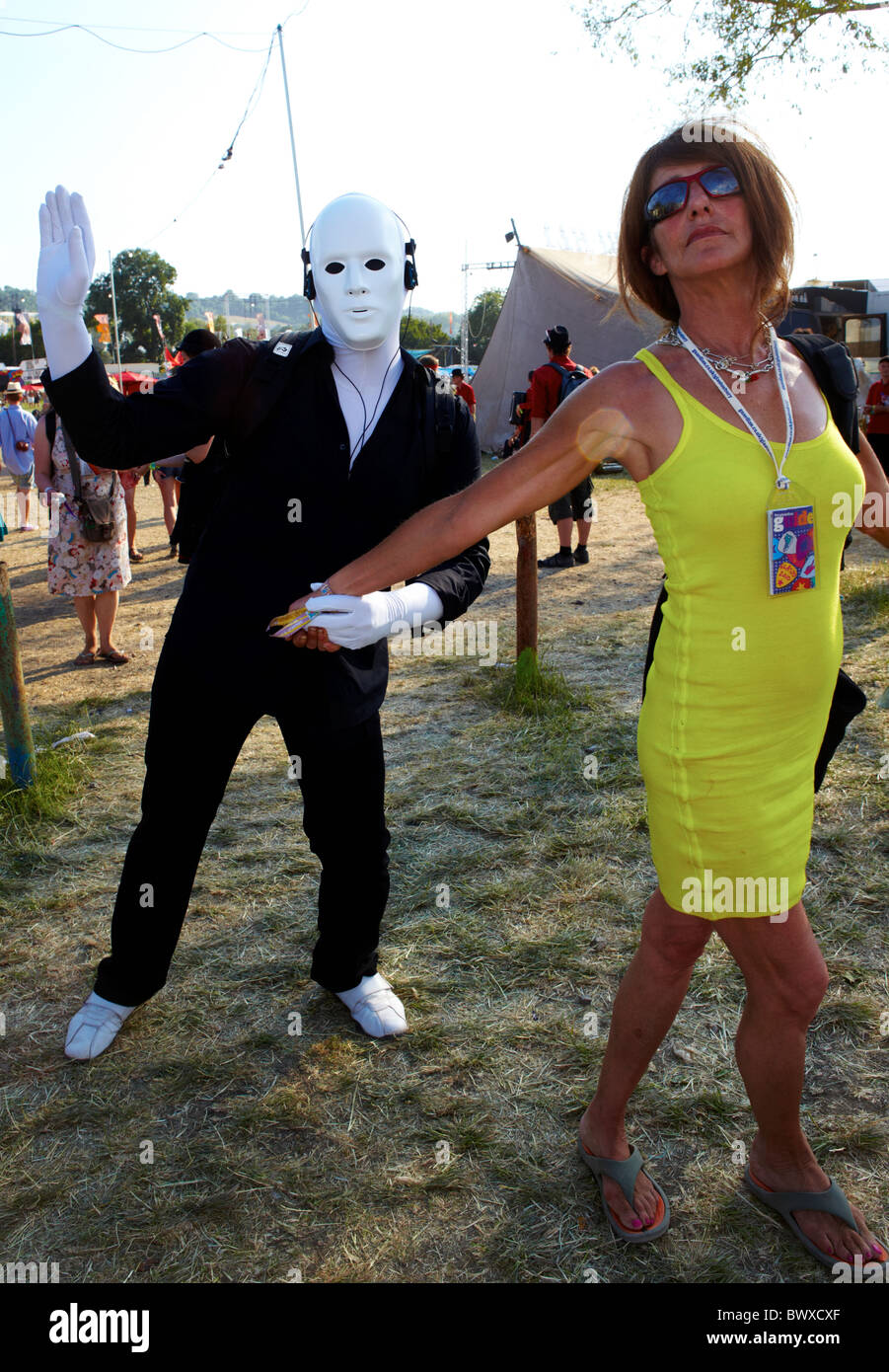 Festival Goers Glastonbury Festival Somerset UK Europe - Stock Image