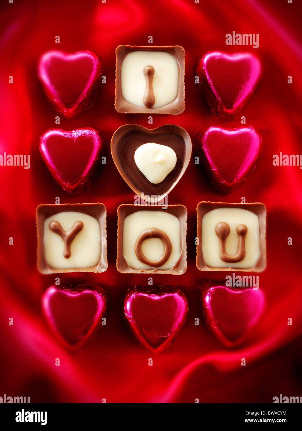 'I Love You' Valentines or Mothers Day Chocolates - Stock Image