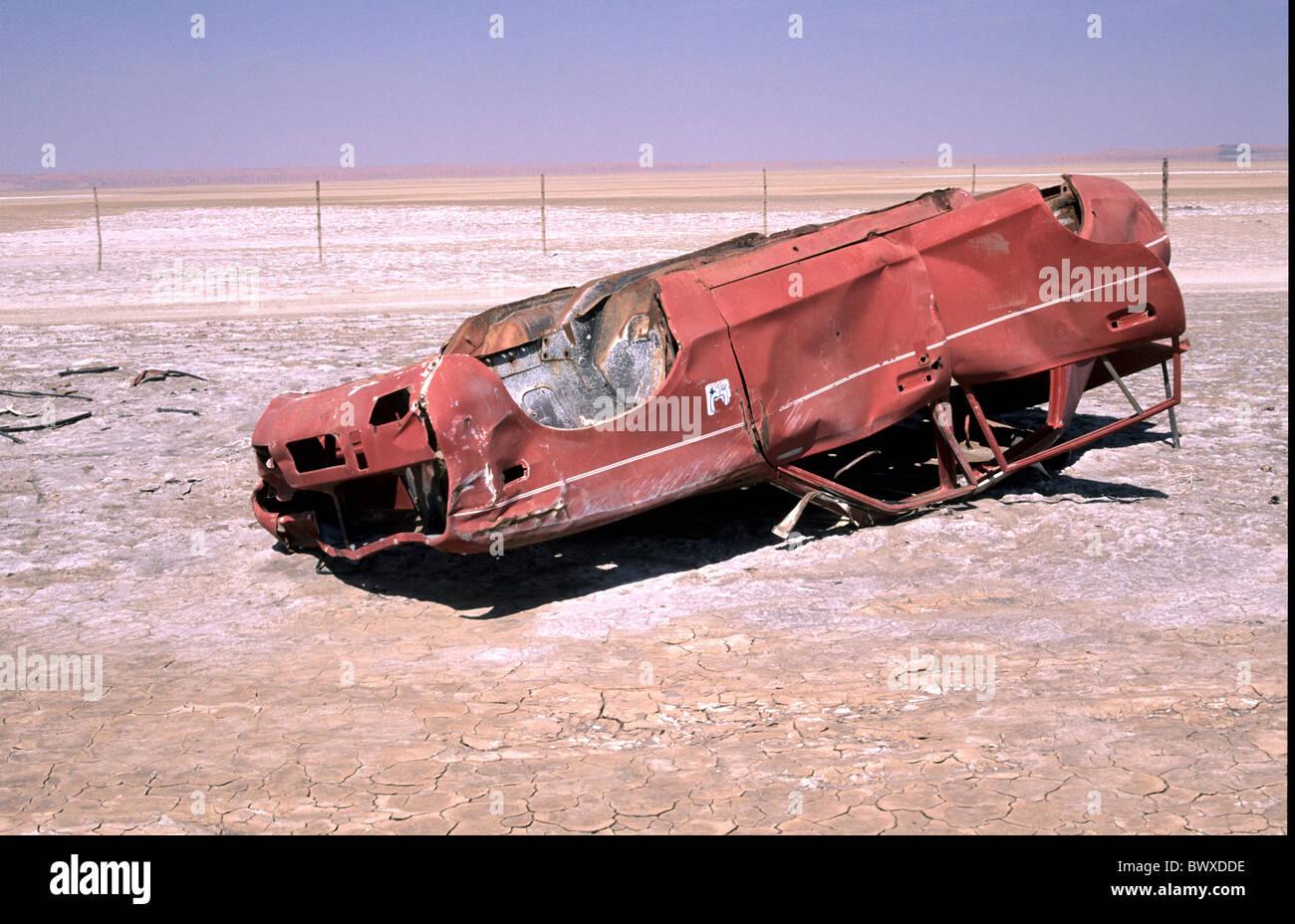 grit slope scrap vehicle near Riedfonten scenery red South Africa desert - Stock Image