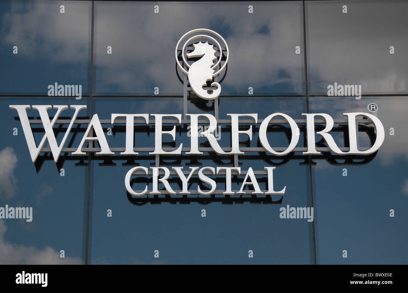 The Waterford Crystal logo on the new House of Waterford Crystal (Jun 2010), Waterford City, Co. Waterford, Ireland - Stock Image