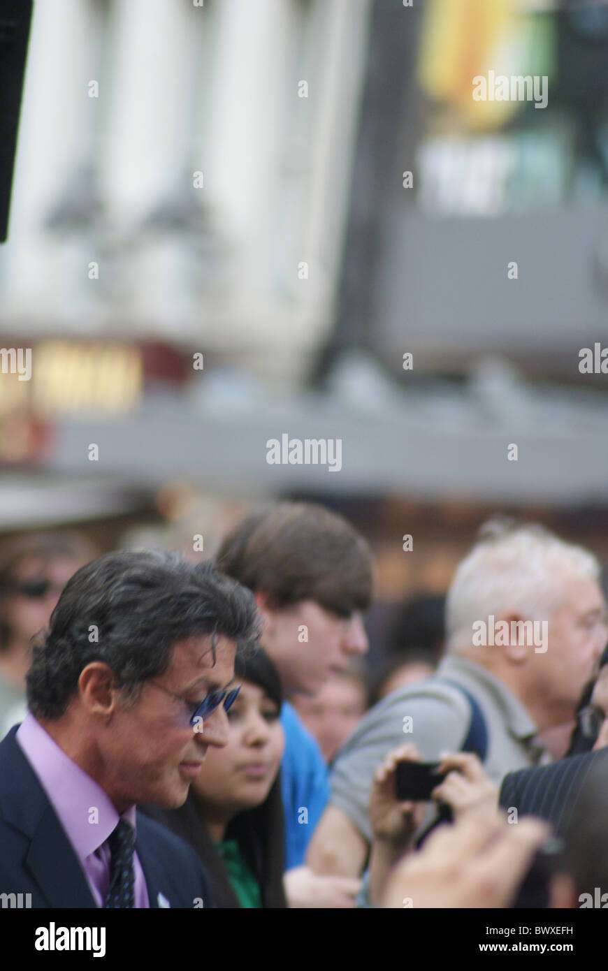 Sylvester Stallone arriving at the UK Premiere of The Expendables - Stock Image