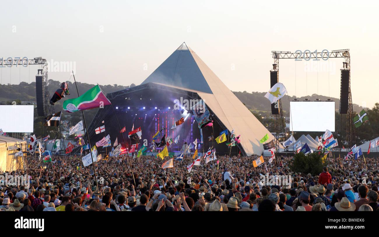 The Pyramid Stage  At The Glastonbury Festival   Somerset UK Europe - Stock Image