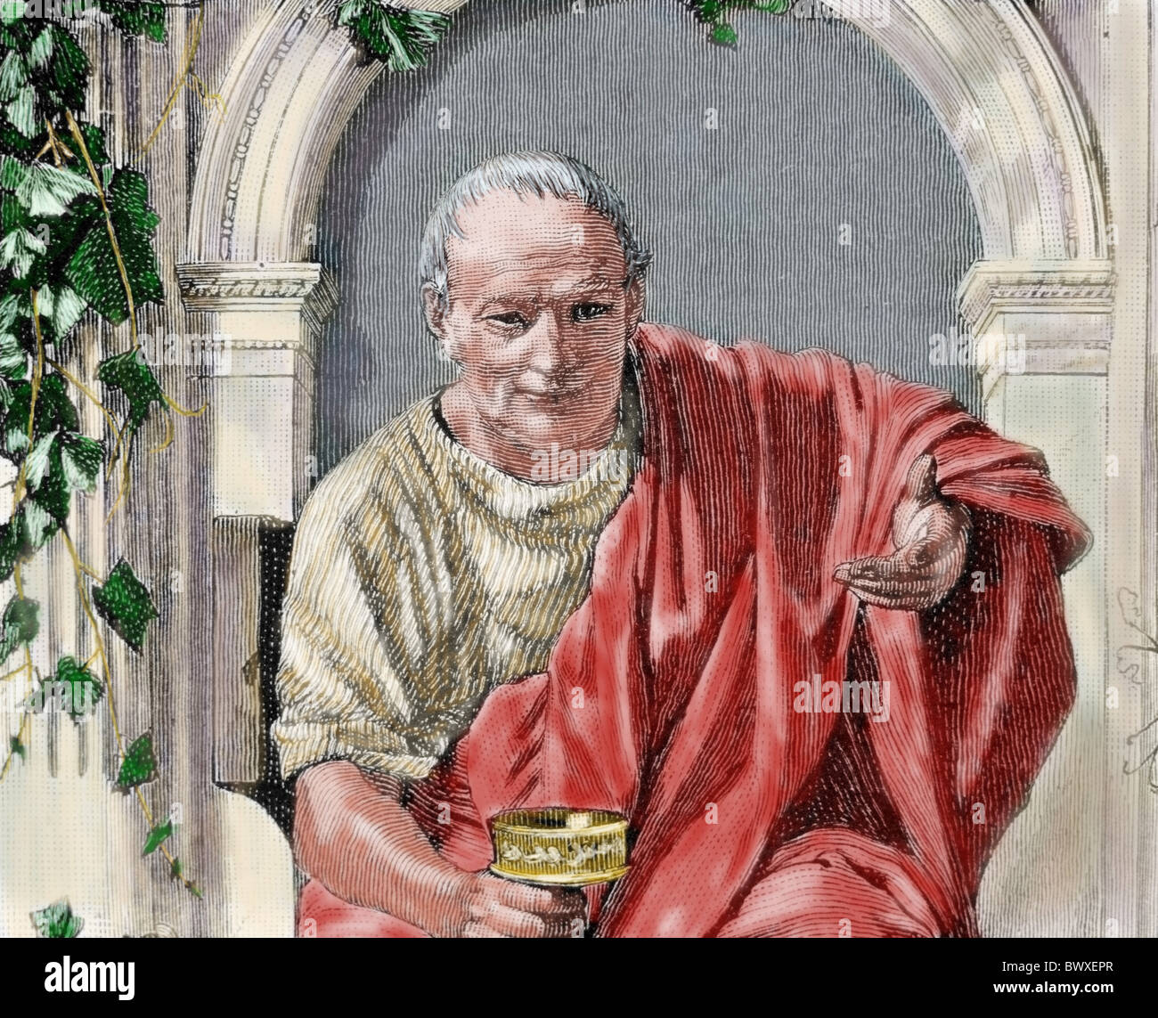 Horace (65-8 B.C.). Roman lyric poet during the time of Augustus. Colored engraving. - Stock Image