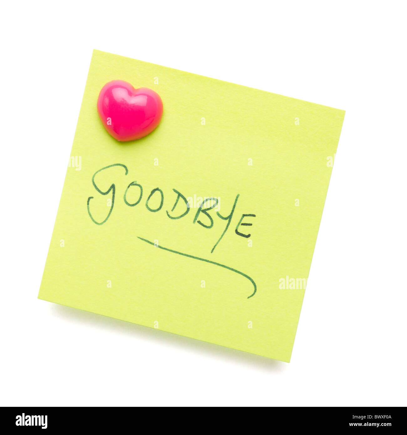 goodbye message on post it note isolated on white. - Stock Image