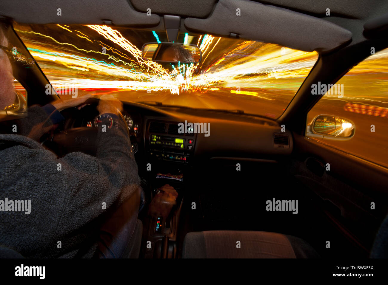 View from car driving at night-Victoria, British Columbia, Canada. - Stock Image