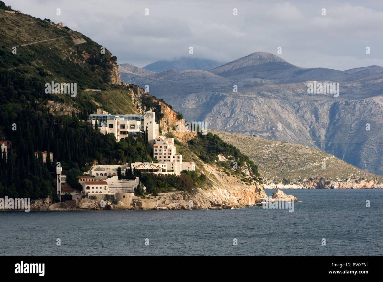 Buildings on the coastline at Dubrovnik, Croatia Stock Photo
