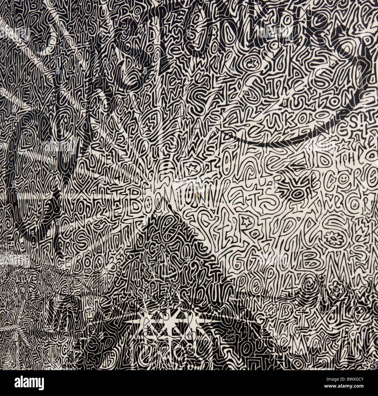 Graphic Art At The Glastonbury Festival Somerset UK Europe - Stock Image