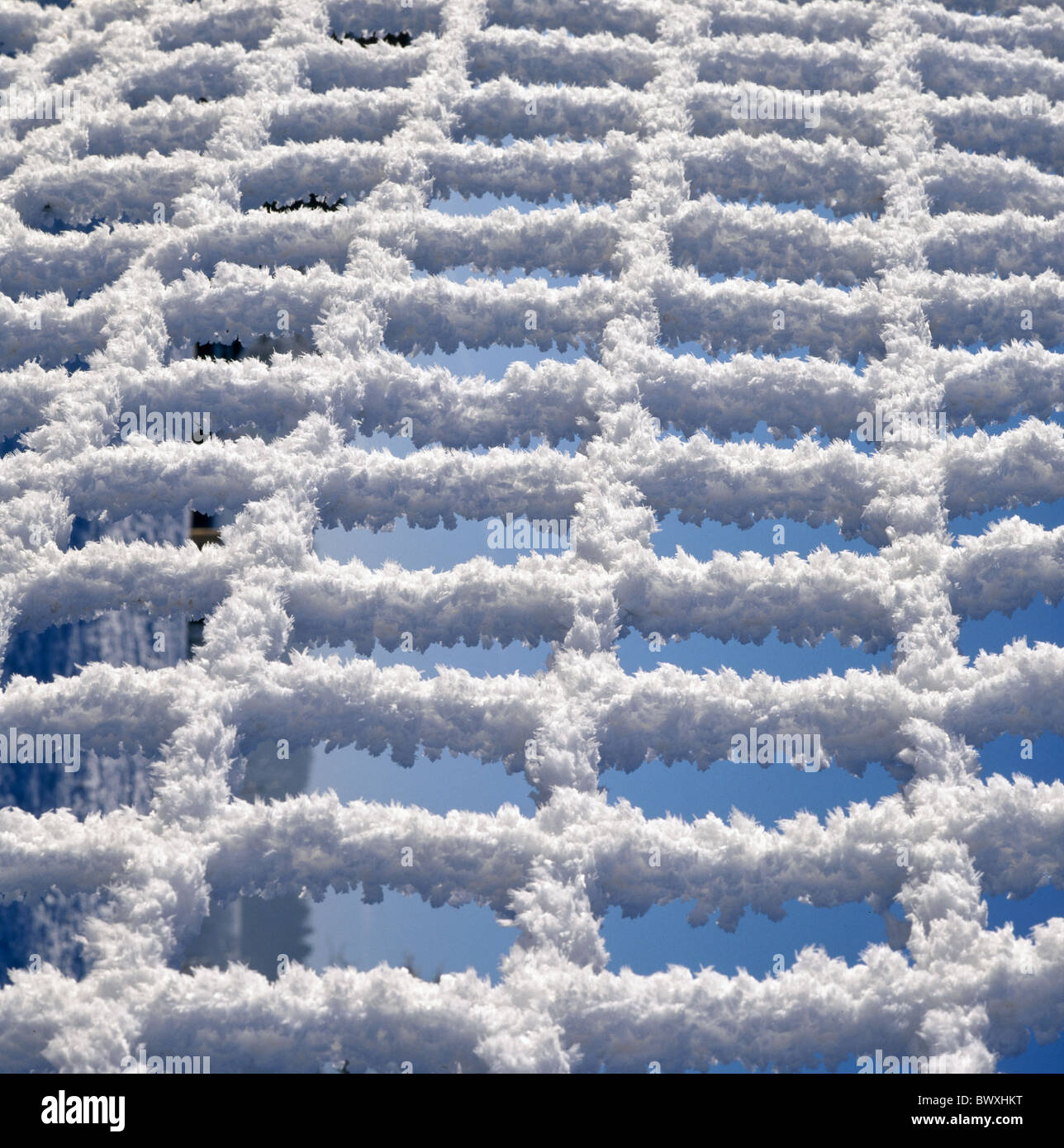 wire netting close-up hoarfrost snow covers winter fence Switzerland - Stock Image