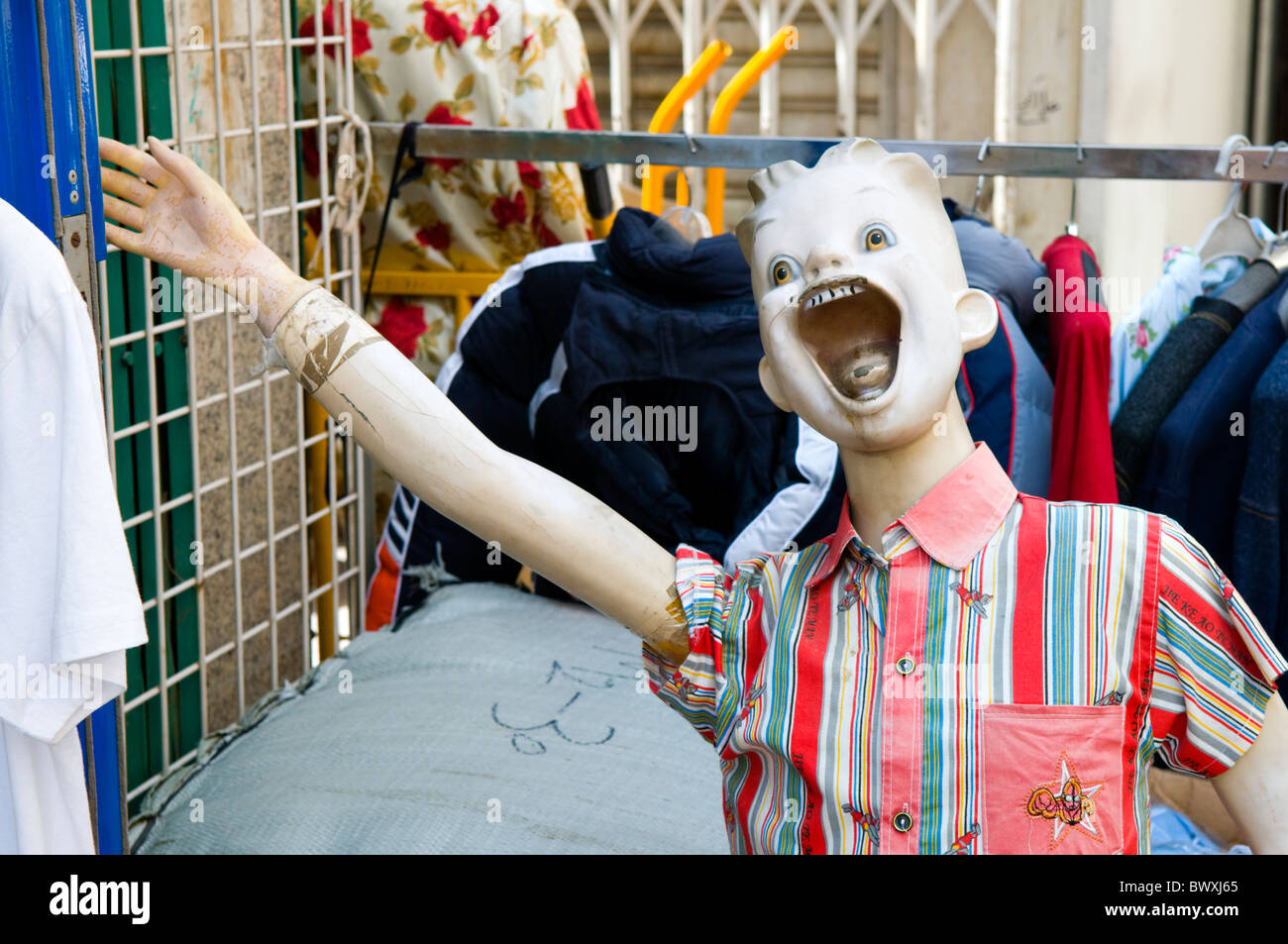 77364e443 Mannequin With Arm Outstretched Outside a Fashion Shop in Dubai - Stock  Image