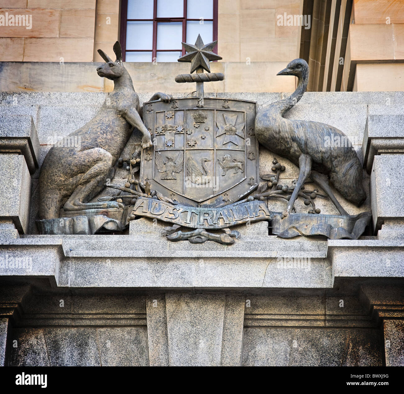Australian coat of arms featuring a kangaroo and an emu on the General Post Office building in Perth Western Australia - Stock Image