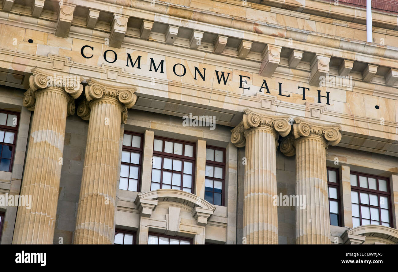 Detail of General Post Office building on Forrest Place in central Perth Western Australia highlighting the word - Stock Image