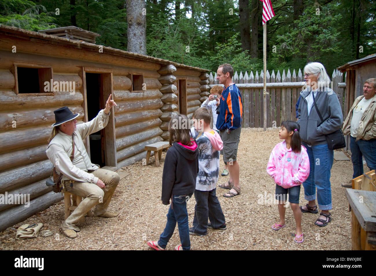 Historical reenactment at Fort Clatsop National Memorial near Astoria, Oregon, USA. - Stock Image