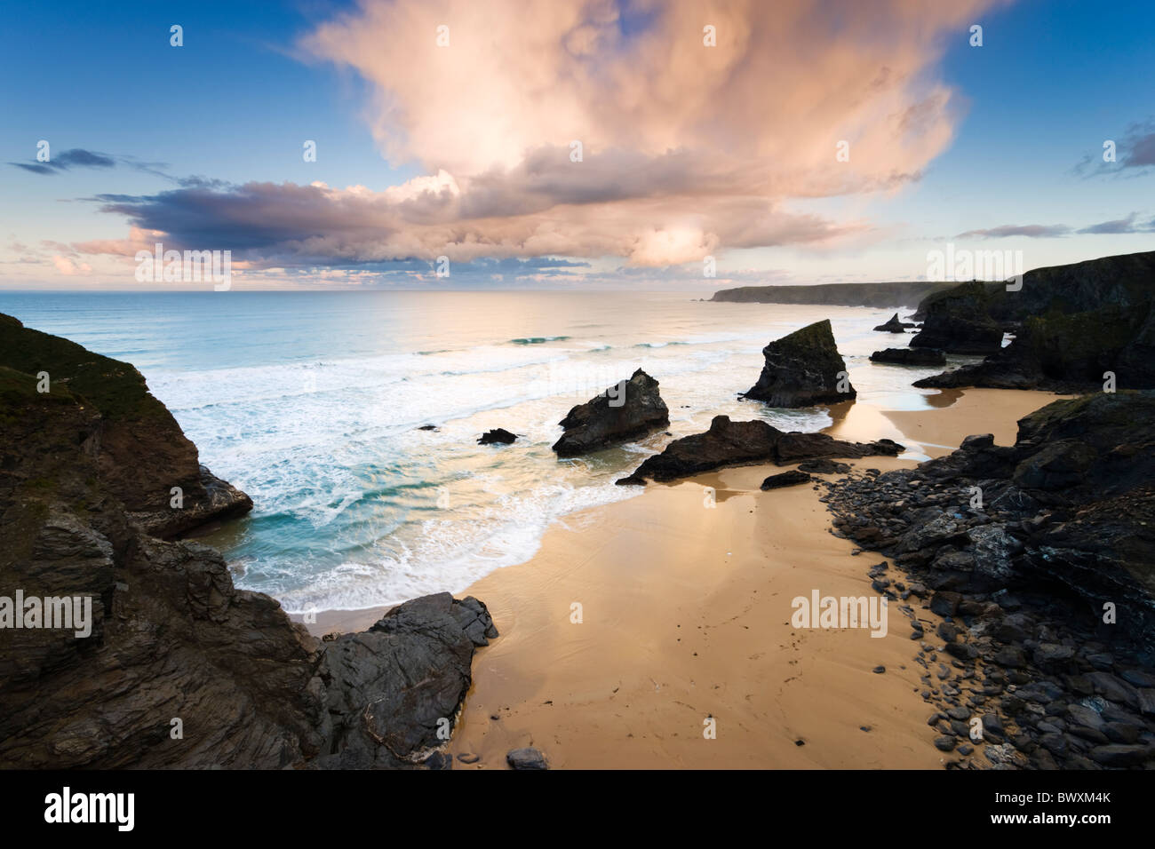Bedruthan Steps, Cornwall, UK - Stock Image