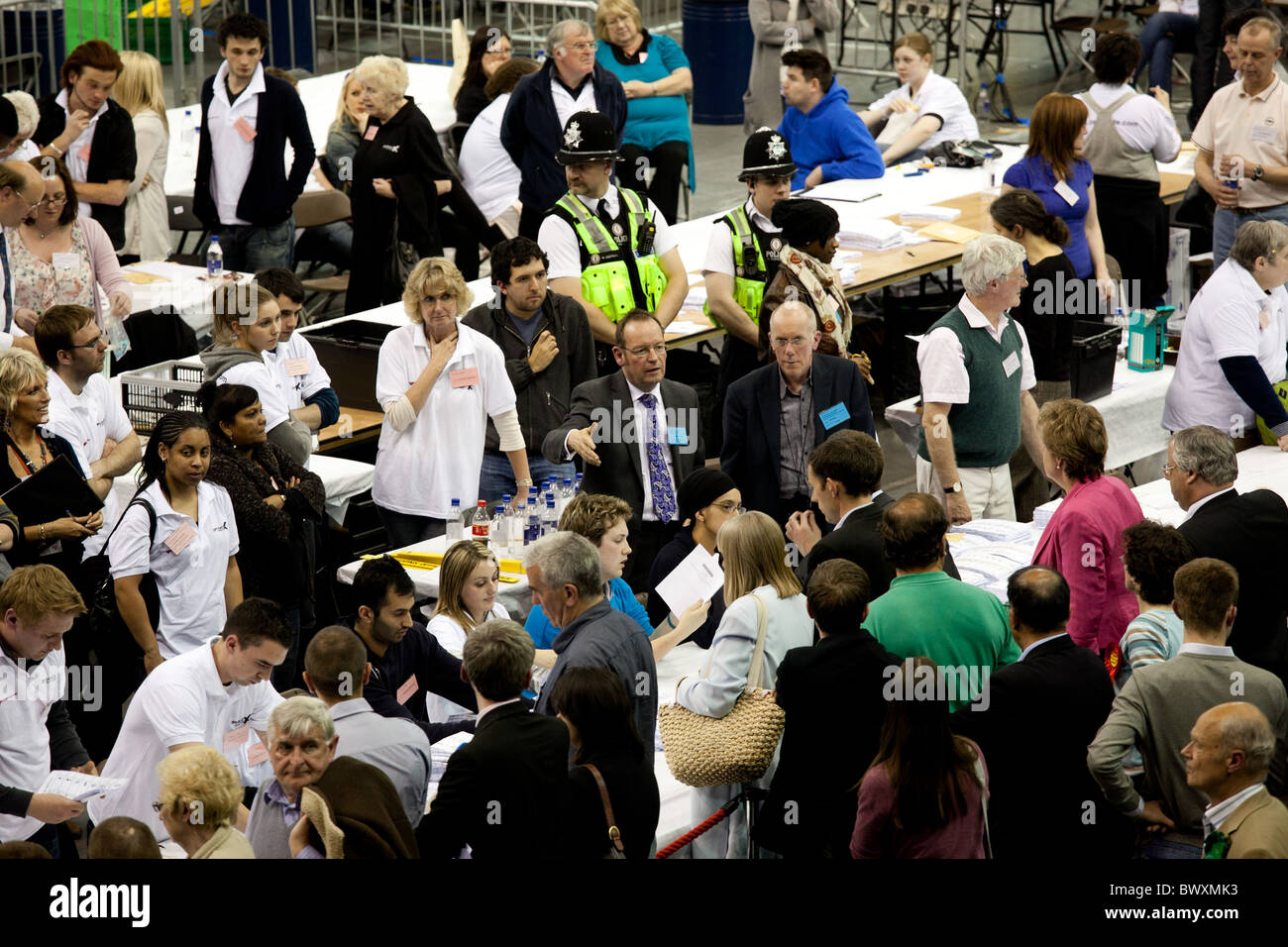 General election count 2010 held at the National Indoor Arena Birmingham - Stock Image