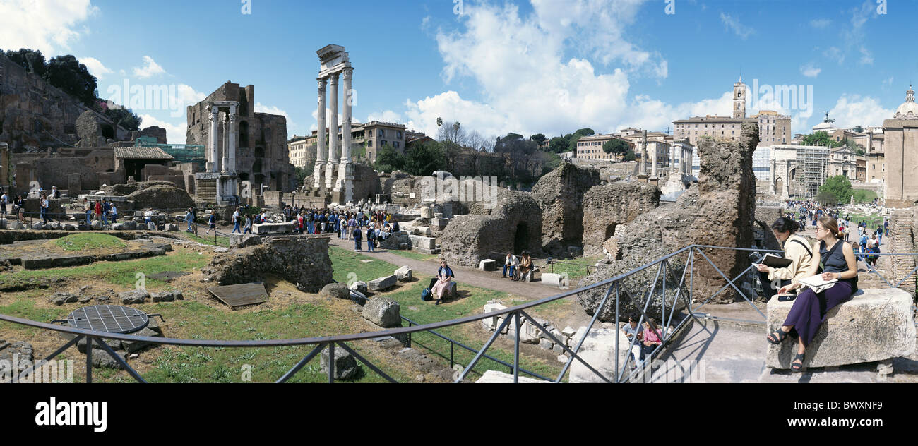 view Ancient world antiquity horizontal format forum Romanum Italy Europe panorama Rome tourist - Stock Image
