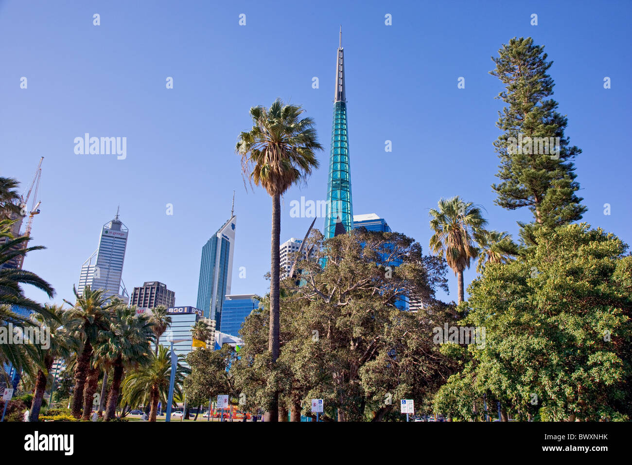The Swan Bell Tower and Perth city skyline Western Australia the bell tower houses historic bells of St Martin in - Stock Image