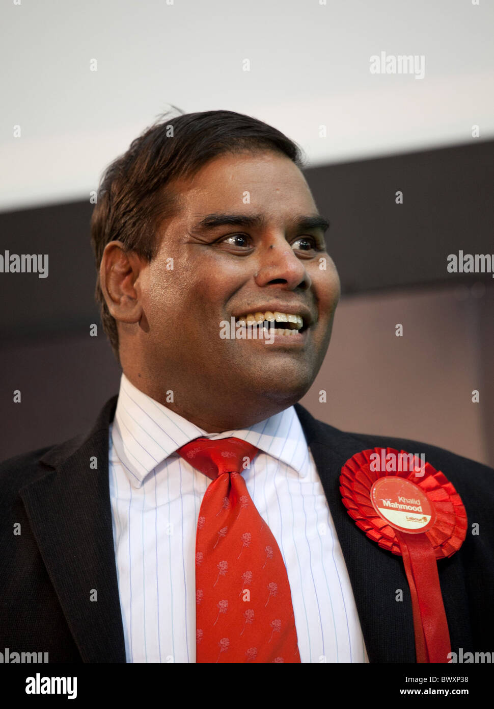 Member of Parliament for Perry Barr Birmingham Khalid Mahmood pictured after regaining his seat at the 2010 general - Stock Image