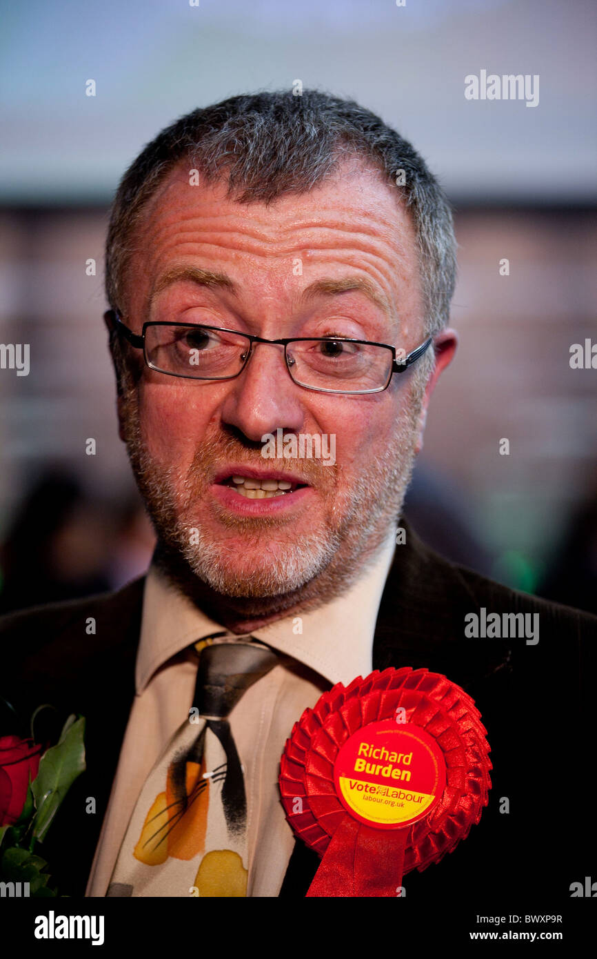 Member of Parliament for Northfield Birmingham Richard Burden pictured after regaining his seat at the General Election - Stock Image