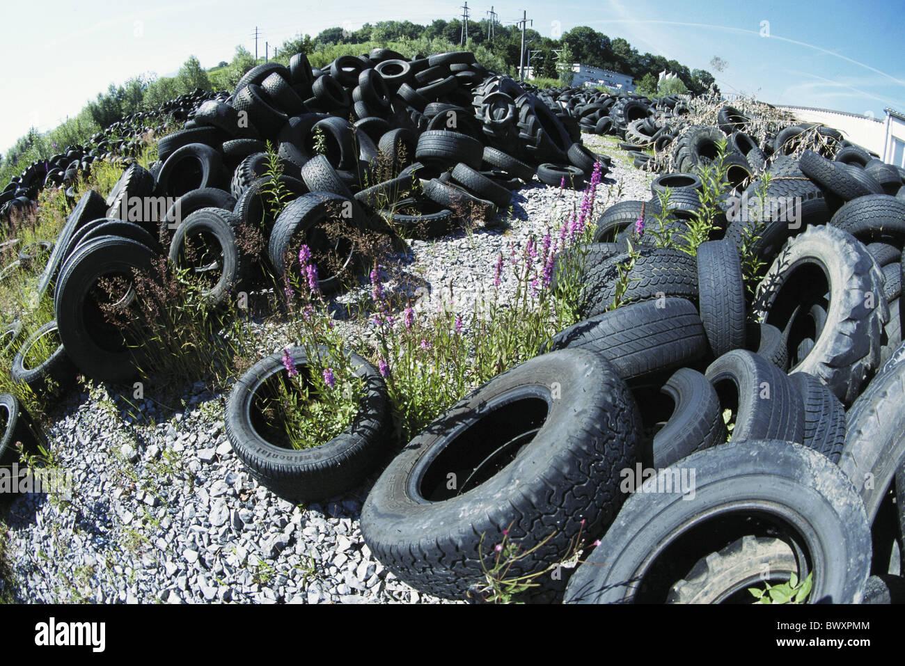 industry scrap metal rubbish metal rubber rubbish disposal tire dump Fisheye tires scrap metal filing pla Stock Photo