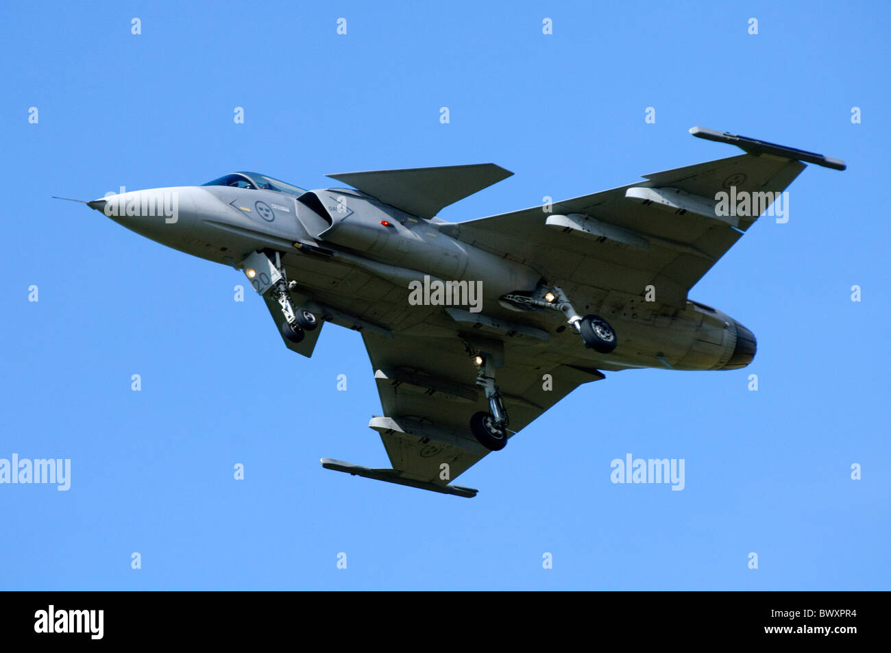 Saab JAS-39C Gripen jet fighter on approach for landing at RAF Fairford - Stock Image