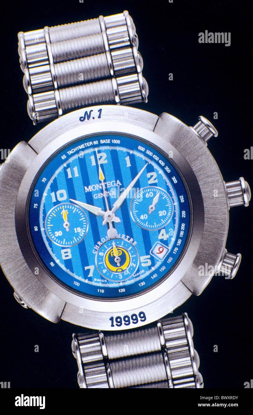 wristwatch clock watch deluxe clock chronograph Geneve luxurious Montega R9 sports clock clocks watches - Stock Image