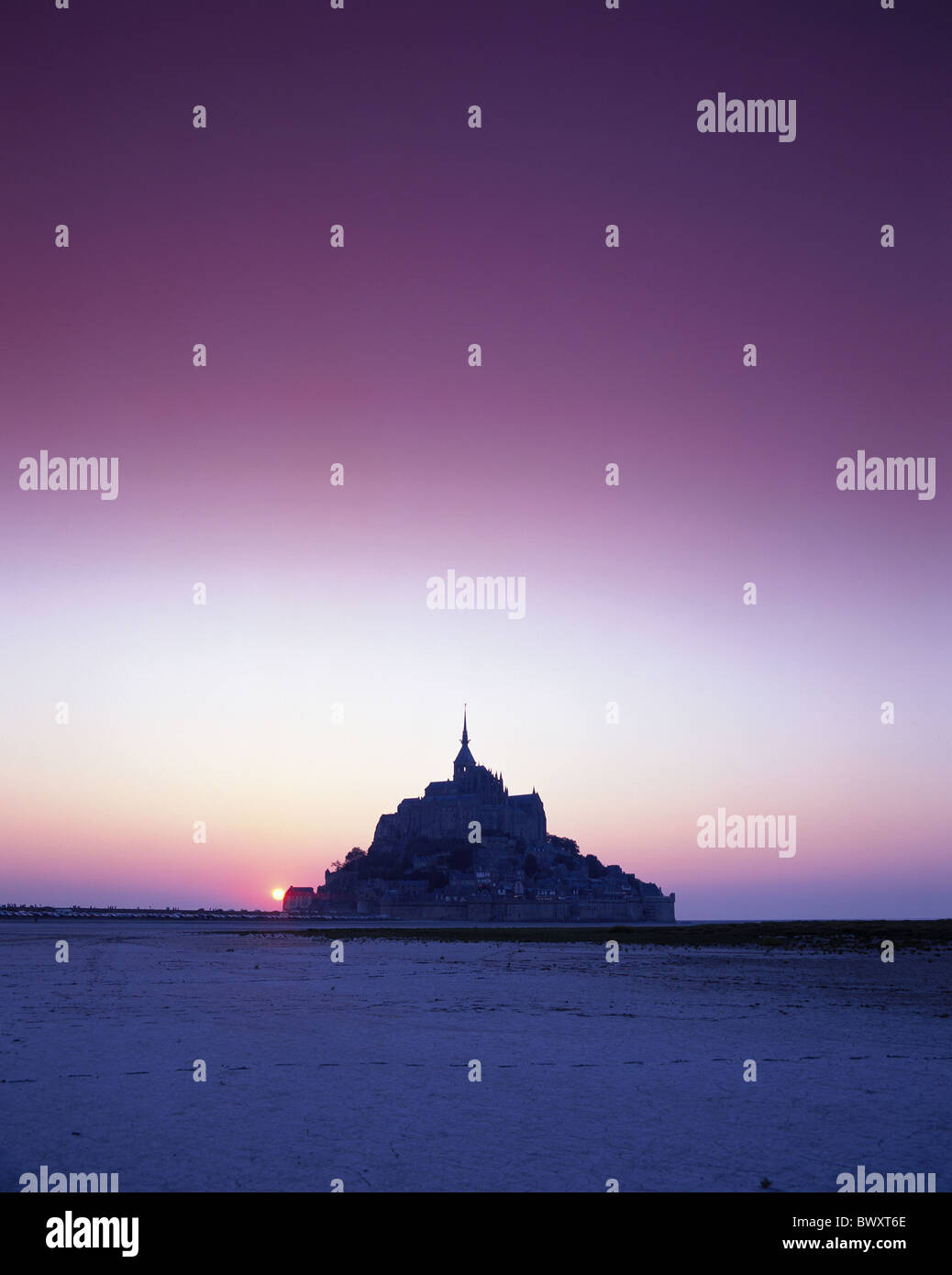 filter France Europe Mont St. Michel Normandy silhouette sundown mood Stock Photo
