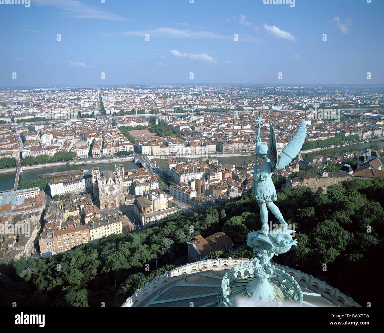 bronze angel's statue dome France Europe Lyons Rhone town city overview in front ahead - Stock Image