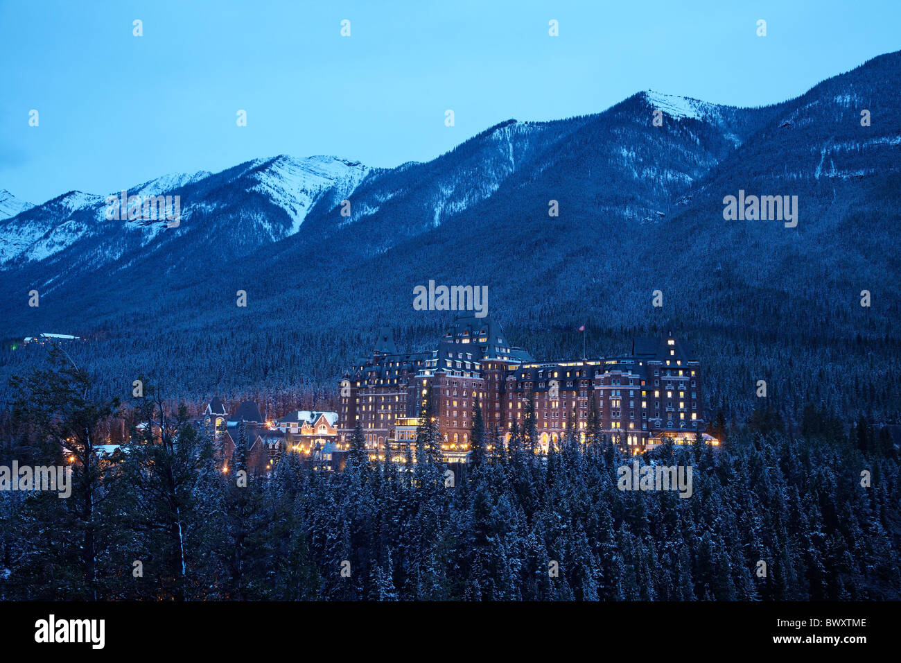 Banff Springs Hotel in late winter, Banff, Banff National Park, Canadian Rockies, Alberta, Canada Stock Photo