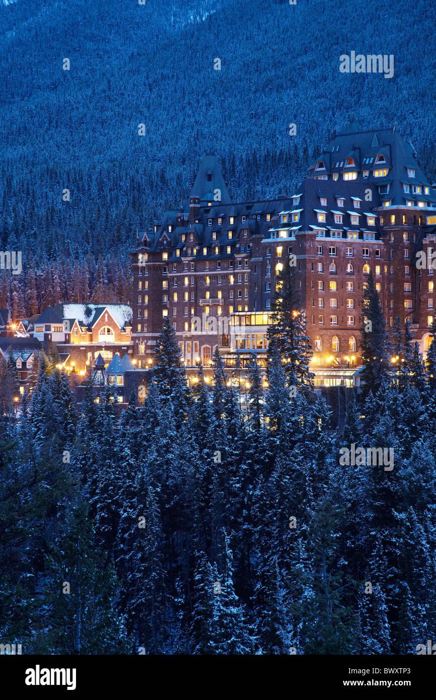 Banff Springs Hotel in late winter, Banff, Banff National Park, Canadian Rockies, Alberta, Canada - Stock Image