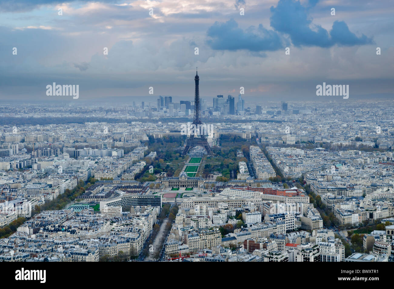 Paris view with Eiffel Tower from Tour Montparnasse - Stock Image
