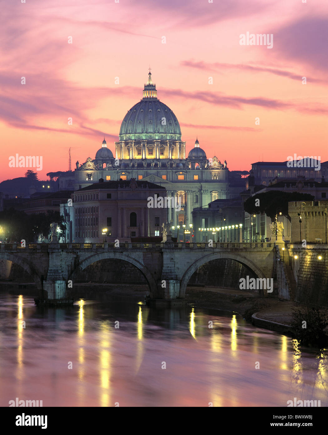 angel's bridge Italy Europe at night Peter's cathedral Rome mood Tiber - Stock Image