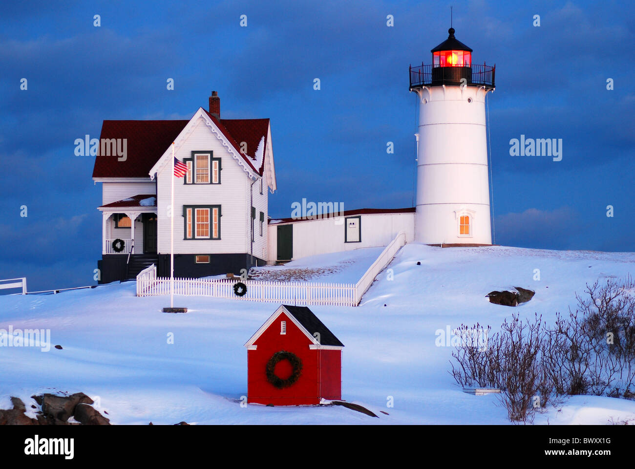 Maine Lighthouse Snow Stock Photos & Maine Lighthouse Snow Stock ...