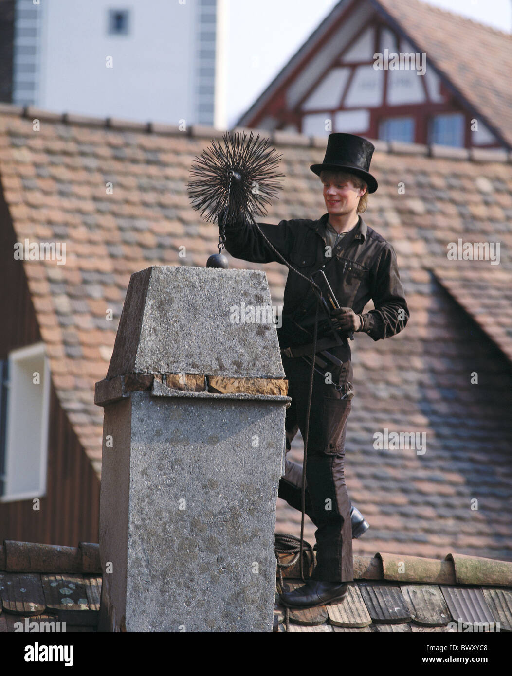 occupations professions roofs device appliance chimney fireplace chimney-sweep luck happiness symbol blac - Stock Image