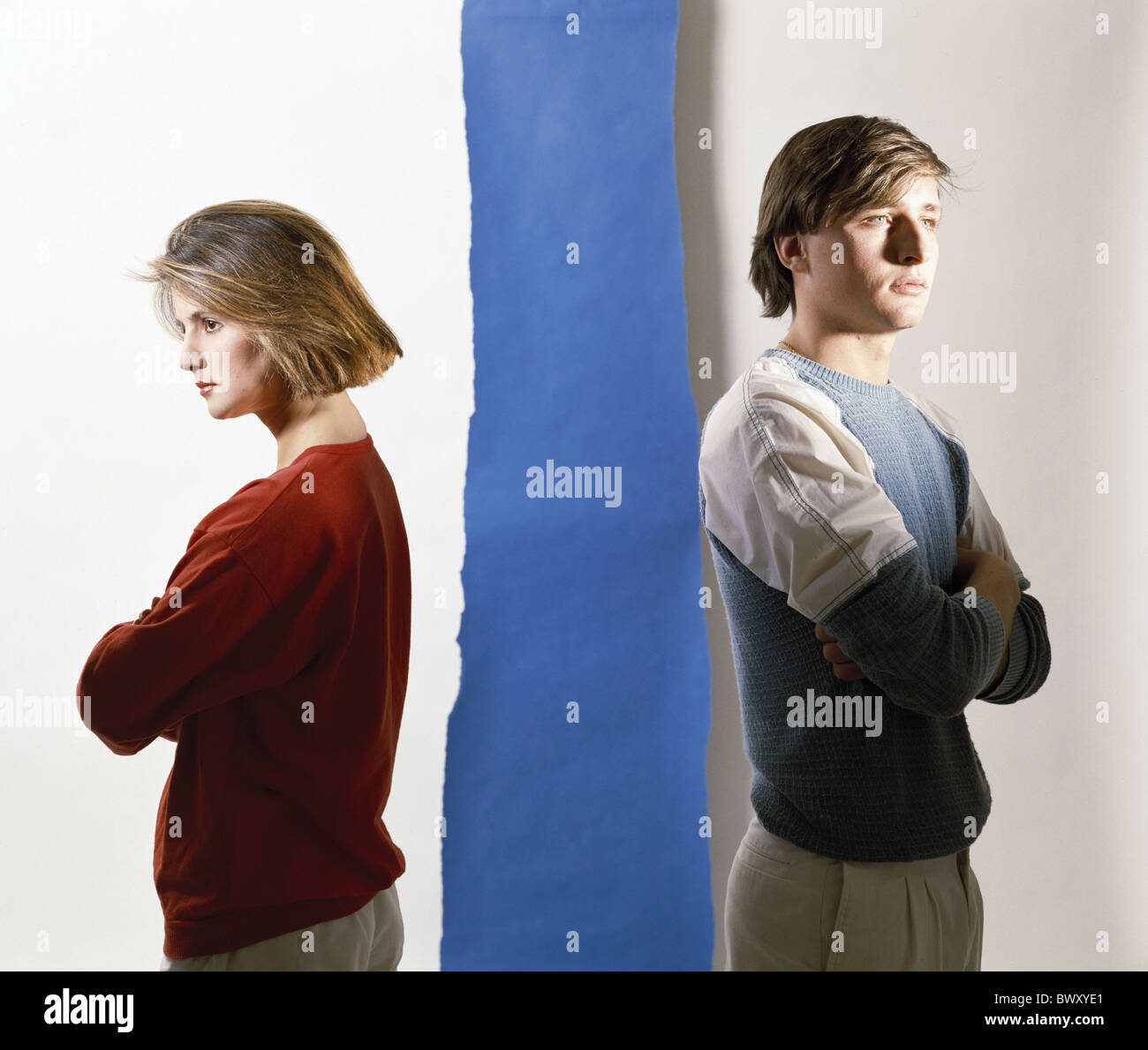 turned away parents family argue tore quarrel argument separation divorce problem problematic symbol sepa - Stock Image