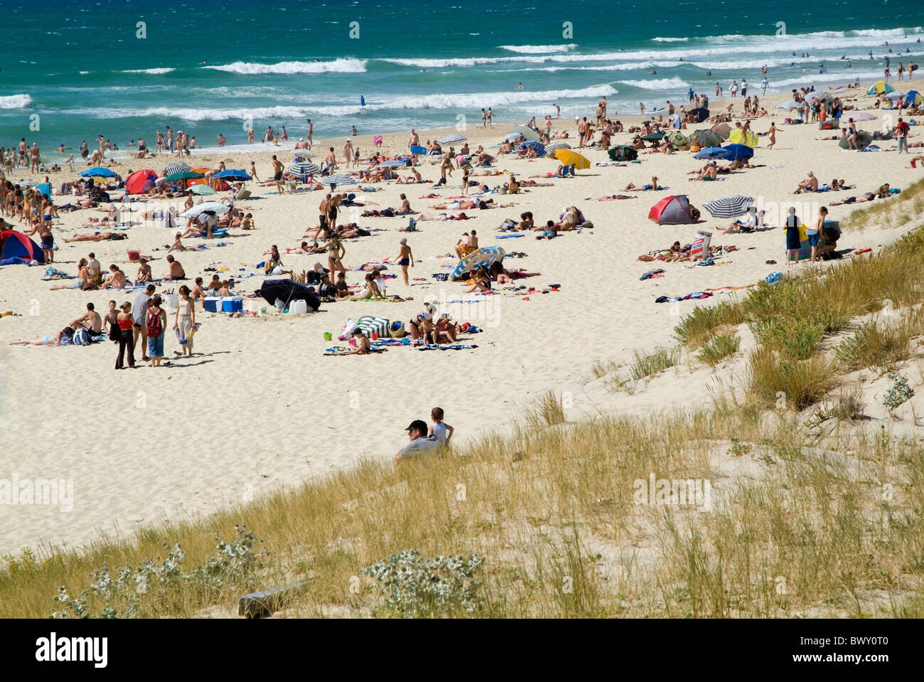 Crowds of people sunbathing on the Biscarrosse beach in Aquitaine, France in the hot summer season - Stock Image