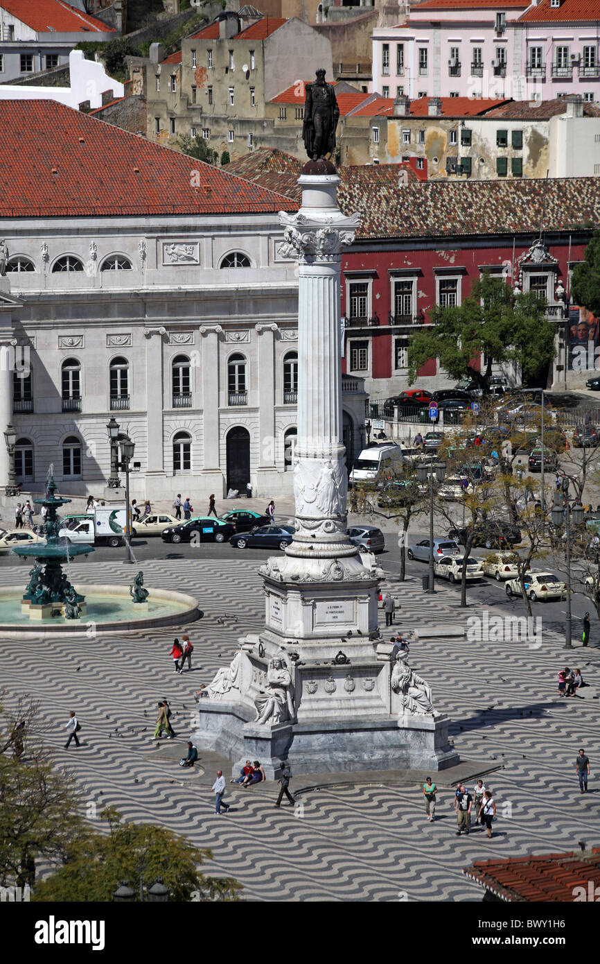 Portugal Lissabon Lisbon Lisboa Rossio Stock Photo