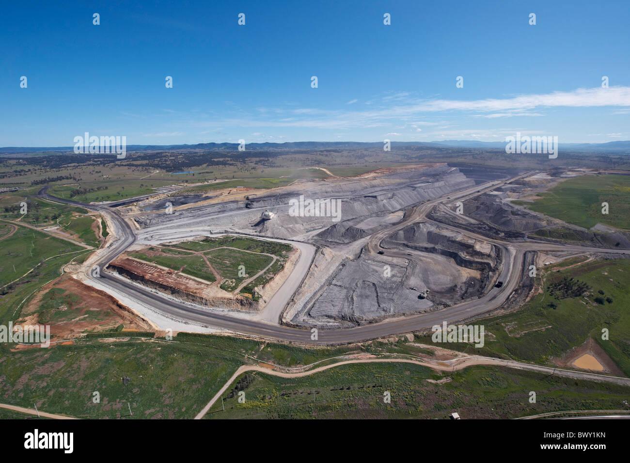 Open cut mine Hunter Valley NSW Australia - Stock Image