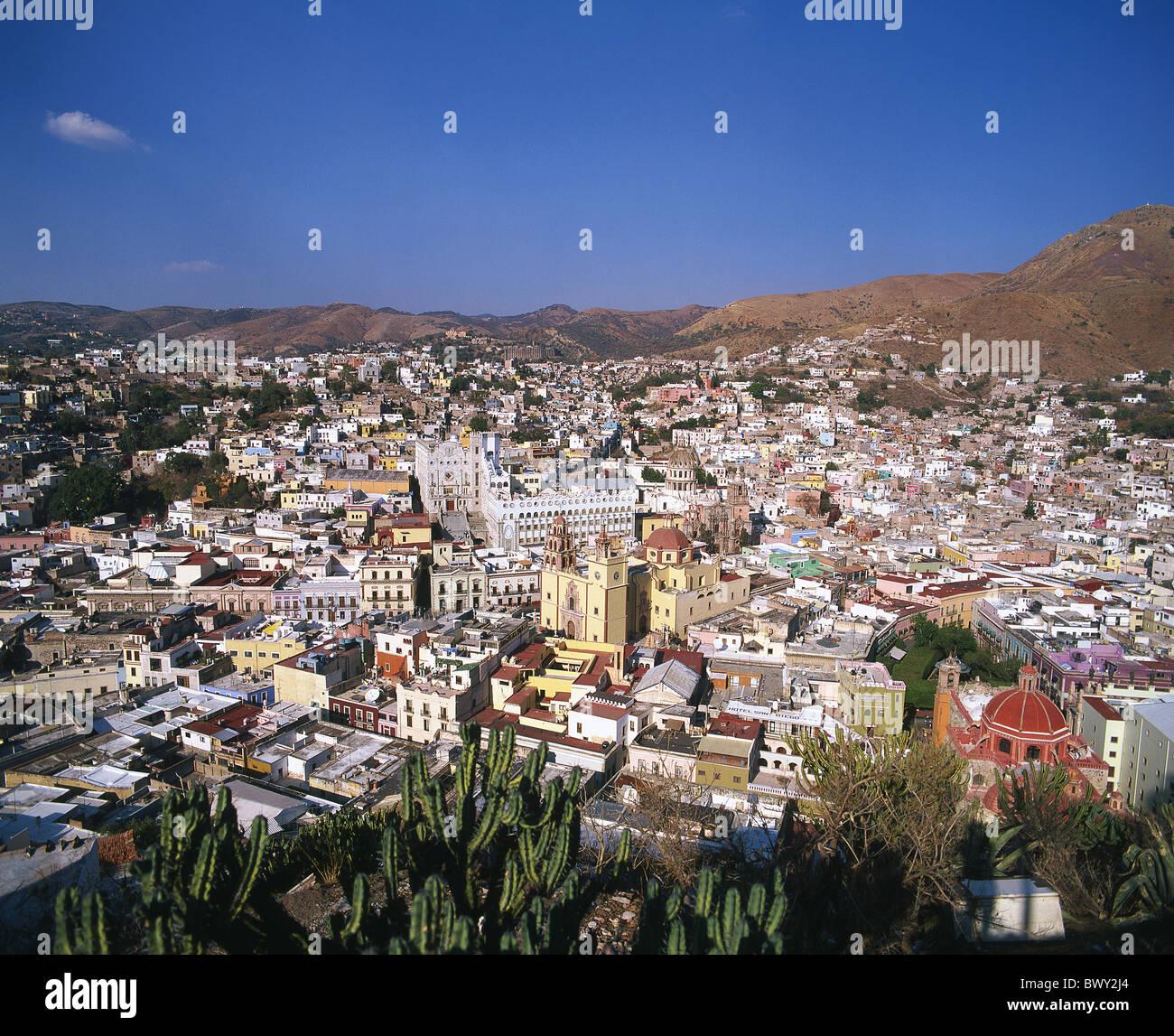 Guanajuato Mexico Central America Latin America towns cities overview - Stock Image
