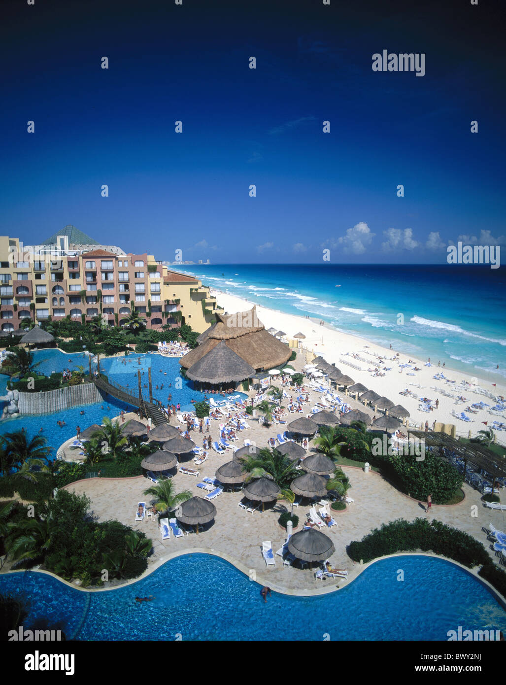 Cancun Fiesta Americana Resort hotel Mexico beach seashore swimming pool pool Yucatan - Stock Image