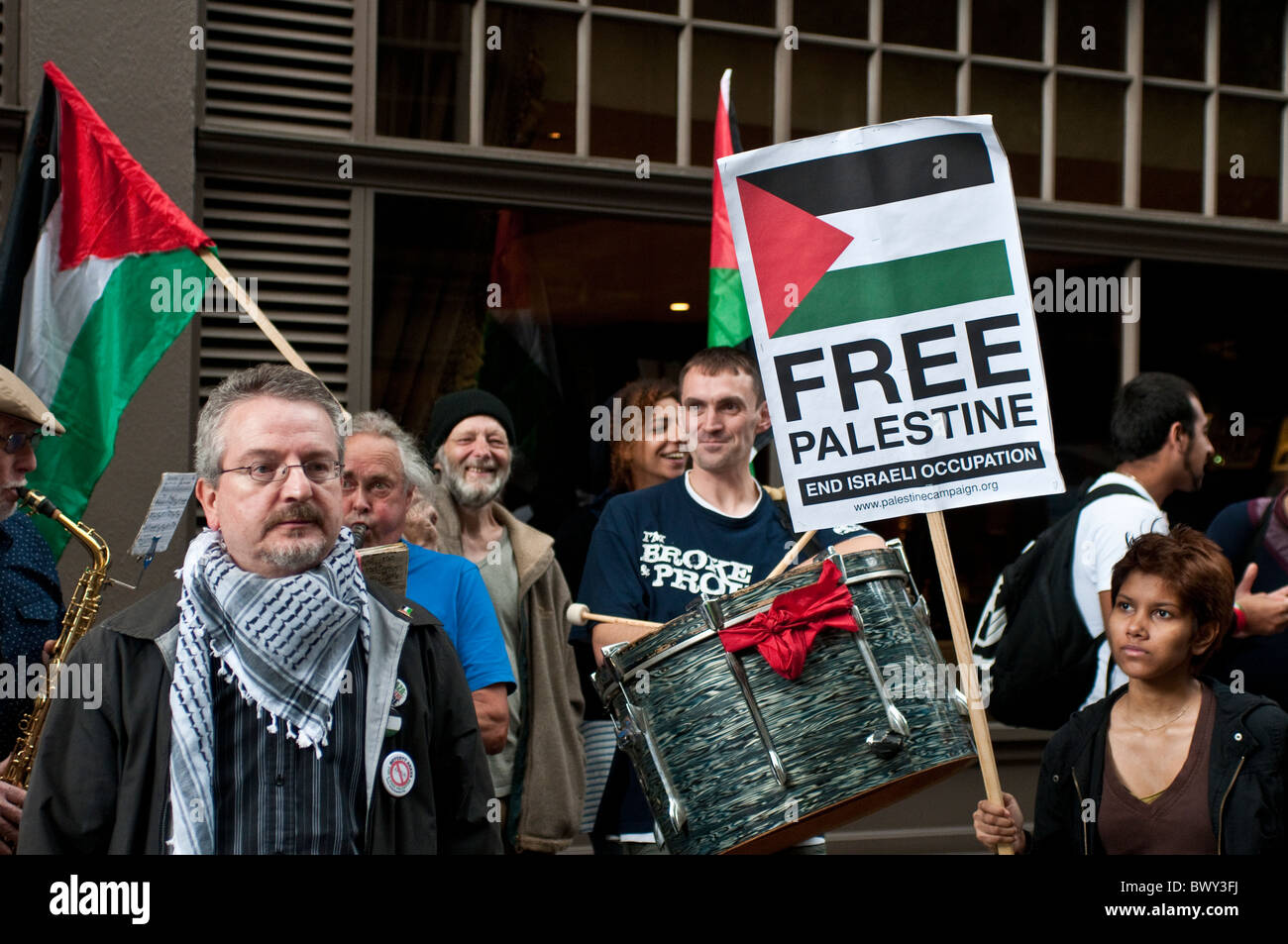 Demonstration for a Free Palestine outside Ahava shop in Covent Garden, London, UK - Stock Image