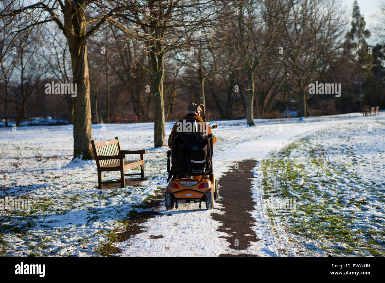 Person in an electric disability wheelchair/buggy riding through snow covered park Bakewell Derbyshire East Midlands - Stock Image