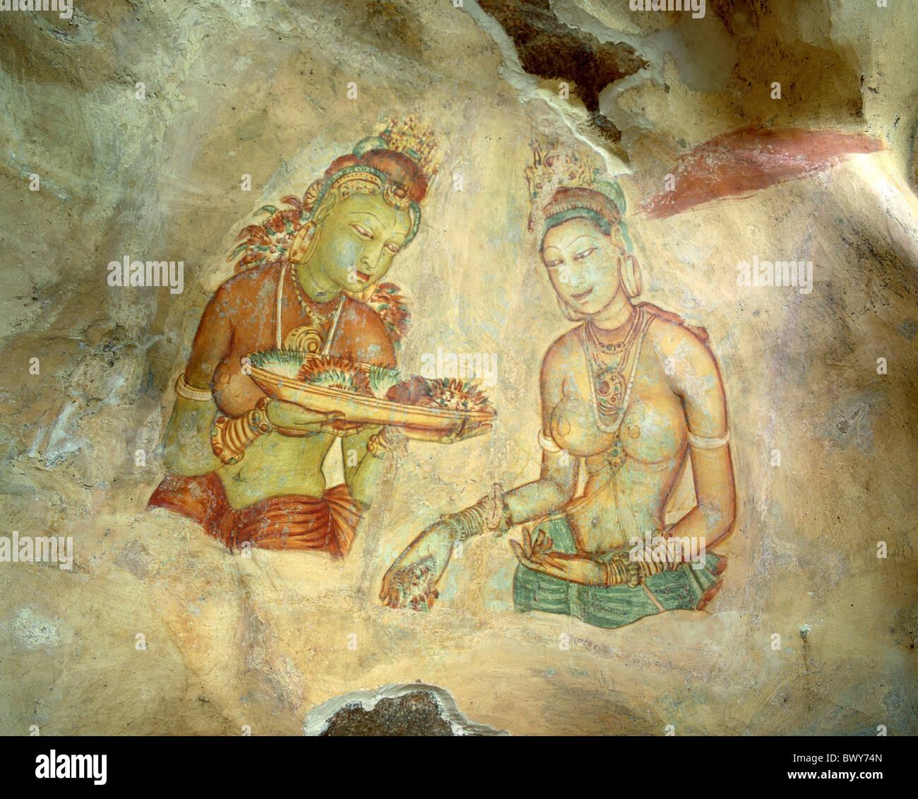 ruins Sigiriya women Sri Lanka Asia mural painting - Stock Image