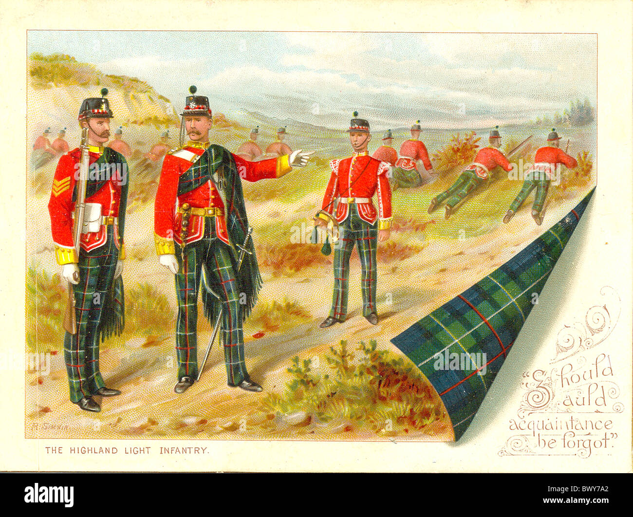 Christmas greeting card of The Highland Light Infantry - Stock Image